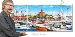 Nils-Erik Nilsson har gjort en detaljrik målning av Nynäshamn som ska bli till vykort, brickor och kylskåpsmagneter.