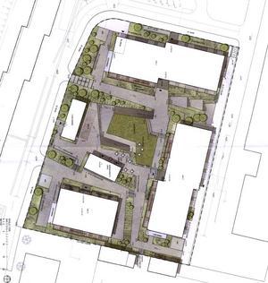 Skissen visar hur Svenska studenthus tänker forma det nya området vid förrådet på Dalgatan.