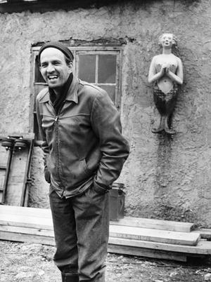 Ingmar Bergman på Fårö vid inspelningen av