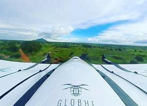 Drönarna som används av företaget Globhe Drones har en aktionsvidd på 100 kilometer och kan bära ett kilo last. Bild: Globhe Drones AB.