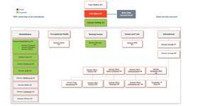 Så här är Unicarekoncernen uppbyggd enligt företagets delårsrapport, den 30 maj i år. De norska enheter som är grönmarkerade står som garant för Unicares obligationslån på 350 miljoner norska kronor.