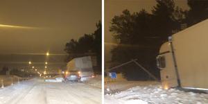 Lastbilen lågi diket på E4:an mellan Saltvik och trafikplats Godstjärn.
