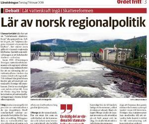 I gårdagens LT förklarade centerpartisten Håkan Larsson hur de ser på vattenkraftsintäkterna.