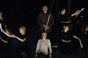 Vetenskapsmannen, som spelas av  Bengt Larsson, i centrum och med stora delar av ensemblen runt sig. Foto: Linn Söderström