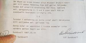 Avtalet som ska ha skrivits på av både GIF och IFK representanter när Brundins övergång klargjordes