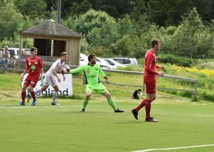 Adrian Lundgren vaktade Anundsjös mål för första gången i division 2 den här säsongen.