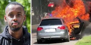 Det var i torsdags som en Audi började brinna i centrala Gävle. Bilder: Anders JS Nilsson och Ahmed Fidow