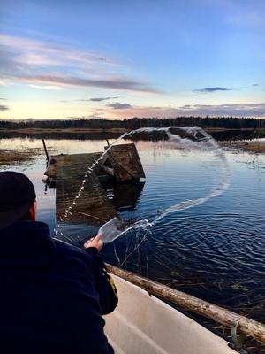 Så här skriver Emma Lundqvist om sin bild: Bilden visar en fin vårkväll där vi tömmer båten efter aprilregnet, för en kvälls fisketur 20:30! Ut med det gamla och in med nått levande och nytt. Bilden är tagen i Södra Råda, Rådasjön. Foto: Emma Lundqvist
