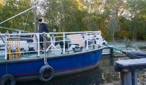 På fartyget Monsun hade hunden Tindra med husse Fredrik stenkoll. Allt gick bra.