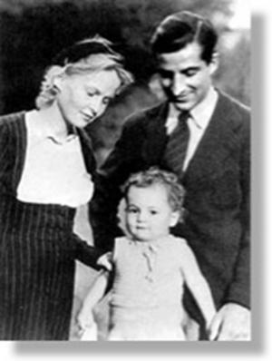 Paret Pontecorvo i Paris 1940, med sonen Gil.