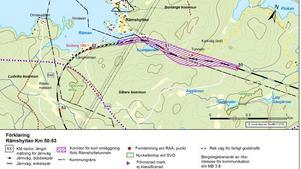 Den nya banan blir cirka 900 meter lång och ansluter till det befintliga järnvägsspåret. Karta: Trafikverket/Lantmäteriet