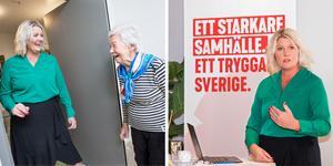 Socialdemokraternas partisekreterare Lena Rådström Baastad presenterade regeringens budget, men hann även med en rundtur på Karlslundsgården, där hon träffade pigga Ingrid Passarelli.