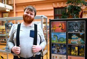 Konstnären och serieskaparen Samuel Granhammar ställer ut i Sundsvalls stadsbibliotek.