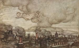 Den nyfödde Peter Pan flyger över London. Illustration av Arthur Rackham från 1906.