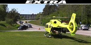 Ambulanshelikopter larmades till Arstabacken på fredagseftermiddagen där en trafikolycka inträffat.