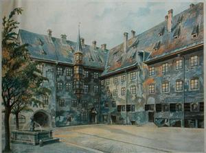 Münchenmotiv målat av Adolf Hitler 1914.