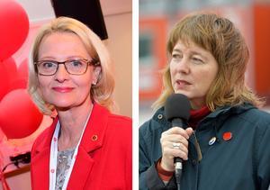 Socialdemokraterna och Vänsterpartiet fick tillsammans cirka 30 procent av svenskarnas röster i Europaparlamentsvalet. Så få har aldrig röstat rött i ett nationellt val tidigare. Heléne Fritzon (S) och Malin Björk (V) var respektive partis toppkandidater i valet. Foto: TT