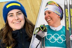 Ebba Andersson hyllas av Charlotte Kalla efter Anderssons OS-debut. Bild: Bildbyrån/Montage