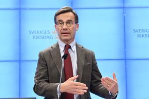 Moderaternas partiledare Ulf Kristersson. I valet 2018 fick M 19,8 procent av rösterna och blev större än SD på 17,5. I SVT Novus 21/11 är SD med 21,5 procent större än M på 18,3. Foto: Jessica Gow / TT.