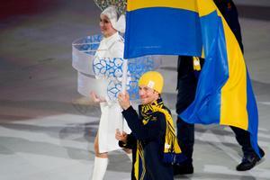 Anders Södergren bar fanan vid invigningen i Sotji för fyra år sedan. Bild: Joel Marklund/Bildbyrån