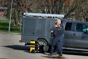 Polisens tekniker var på plats under fredagsförmiddagen