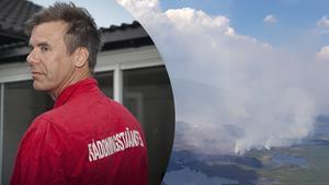 Brandmannen Magnus Proos semester blev inte långvarig. Fotomontage: Pia Nyström/Brandflyget