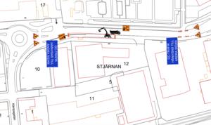 Så här kommer trafiken att på verkar initial enligt den första trafikanordningsplan. Bild: Skara energi