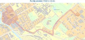 Polisens karta över PL24§-området på 1 maj.