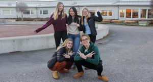 Amanda Lindström, Say Say Win Lwin, Elsa Israelsson, Agnes Simonsson och Filip Svahn, glada nior från Arenaskolan i Timrå som åker till Danmark.