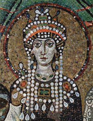 Theodora av Bysans, mosaik från 500-talet i kyrkan San Vitale i Ravenna i Italien.