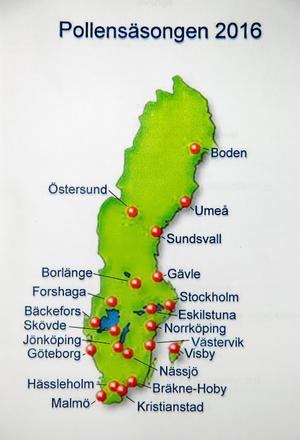 På dessa orter görs mätningar som skickas till polynologiska laboratoriet på Naturhistoriska riksmuseet.