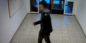 Den misstänkte mannen fångades av övervakningskameror när han försökte ta sig in i skolbiblioteket. Foto: Polisens förundersökning.
