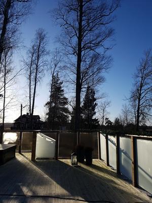 Gunilla Gattinger jublar över att det äntligen är strålande sol.