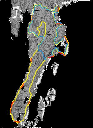 Karta över tävlingsområdet.