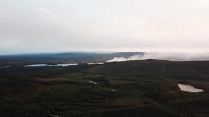 Bilden visar en av de två mindre bränderna söder om Kårböle. Foto: Anna Liljehammar.