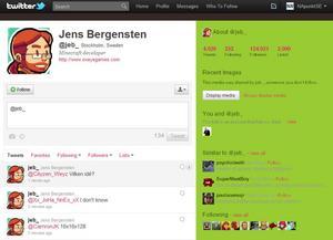 Jens Bergenstens Twitterkonto.