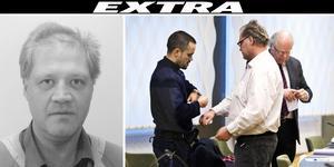 Peder Hägglöf avvek från sin permission i Sala under torsdagsförmiddagen. Till höger syns han vid mordrättegång i Västmanlands Tingsrätt. Foto: Polisen/ Tony Persson