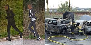 20-åringen, längst till vänster i bild grips kort efter att ett vittne har tagit den här bilden. 19-åringen, som åklagaren menar är den andre springande personen, kommer undan men grips den 1 november. Båda åtalas nu för mordbrand. Foto: Ur förundersökningsprotokollet.