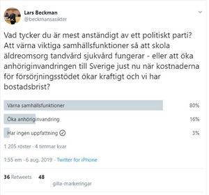 Bland annat agerar Lars Beckman (M) så här på Twitter nu för tiden. Förenklar komplexa frågor och tvingar fram ställningstaganden om