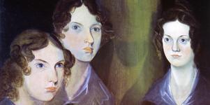 Anne, Emily och Charlotte Brontë på ett porträtt målat av brodern Branwell. Skuggestalten i mitten är han själv - han ansåg sig  för ringa att vara med på en bild av de berömda systrarna.