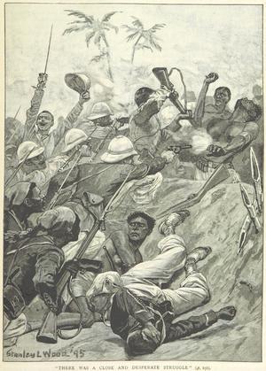 Franska styrkor stormar dahomeyska skyttegravar 1892.Illustration ur