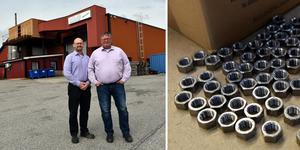 Ulf Berg och Thomas Lindblom vid fabriksbyggnaden i Husum, som har fått nya ägare.