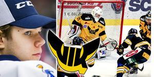 Jesper Myrenberg är en av Sveriges bästa målvakter född 2000. Nästa säsong vaktar han målet för VIK Hockey. Foto: Bildbyrån/Mittmedia