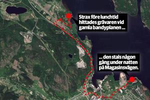 Fordonet hittades nästan sju kilometer från platsen den stals frånHär är den närmast möjliga resvägen. Bild: Google maps, grafik: Robin Brinck