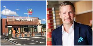 Henrik Nerell, presschef på McDonalds, ser sig om efter etablering i Örnsköldsvik.