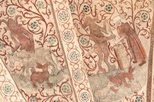 Sagan om häxan, som tillsammans med djävulen skickar ut trollhararna att dia grannens kor, är i fyra delar. Det här är de två första. Till höger spottar hararna ut mjölken i en spann och häxan och djävulen kärnar smör...