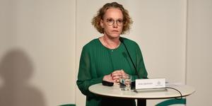 Britta Björkholm, avdelningschef, Folkhälsomyndigheten under torsdagens myndighetsgemensamma pressträff angående coronapandemin. Foto Carl-Olof Zimmerman