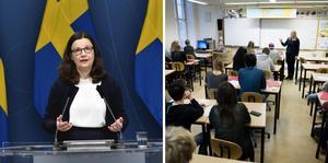 Bildcollage: Anna Ekström, utbildningsminister. Foto: Henrik Montgomery, Jessica Gow / TT