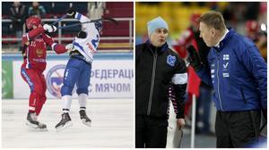Antti Parviainen i samtal med fjärdedomaren i paus i matchen mor Ryssland.