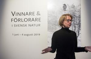 Publik chef Ingela Broström och en bild med korpen, som det går bra för.